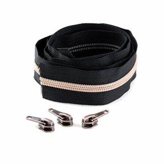 Snaply Spiraalrits 300cm Zwart met koper