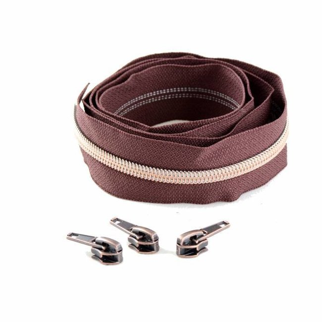 Snaply Coil zipper 100cm Reddish brown with copper