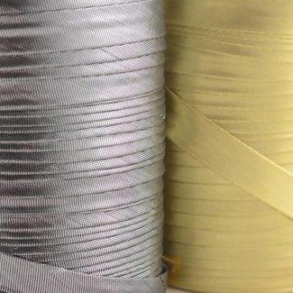 K-Bas Bias tape lurex smooth Silver