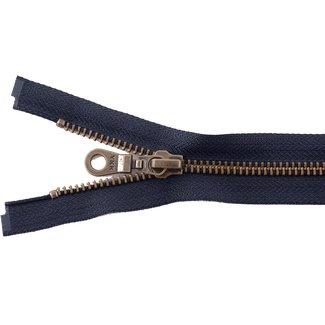 YKK Metal zipper Anti-brass 45cm Navy