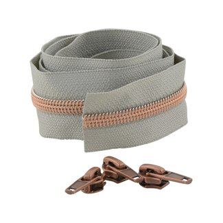 Snaply Coil zipper 100cm Light grey with copper