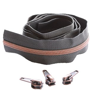 Snaply Coil zipper 100cm Concrete grey with copper