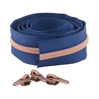 Snaply Spiraalrits 300cm Diepblauw met koper