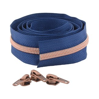 Snaply Coil zipper 100cm Deep blue with copper