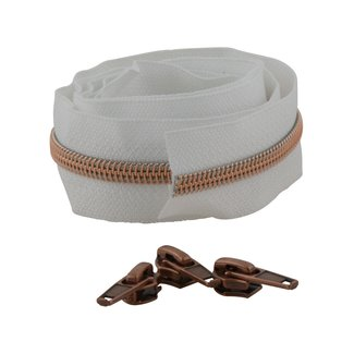 Snaply Coil zipper 100cm White with copper