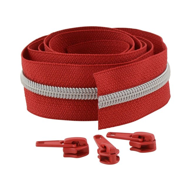 Snaply Coil zipper 100cm Red with silver