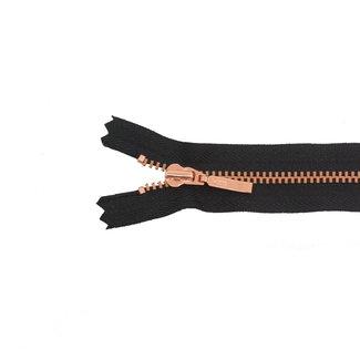 YKK Fijne metalen rits Rosé goud 40cm Zwart
