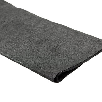 A. L. Frances Textiles Handwaxed metallic linnen  Zwart met zilver