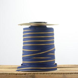 YKK Zipper tape Metal Dark blue - Gold