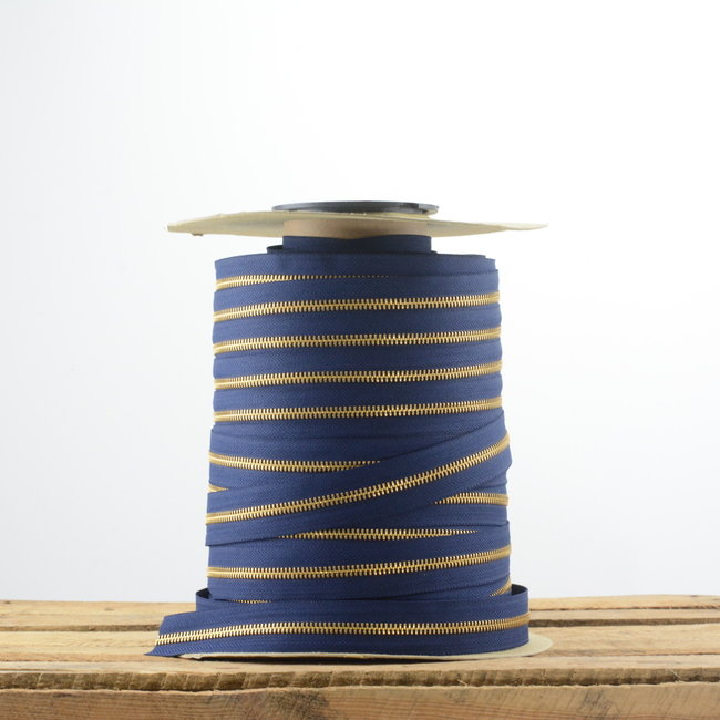 YKK Zipper tape Metal Dark blue - Gold