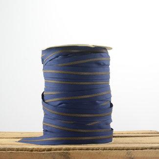 YKK Ritstape Metaal Donkerblauw - Brons