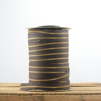 YKK Ritstape Metaal Donkerbruin - Goud