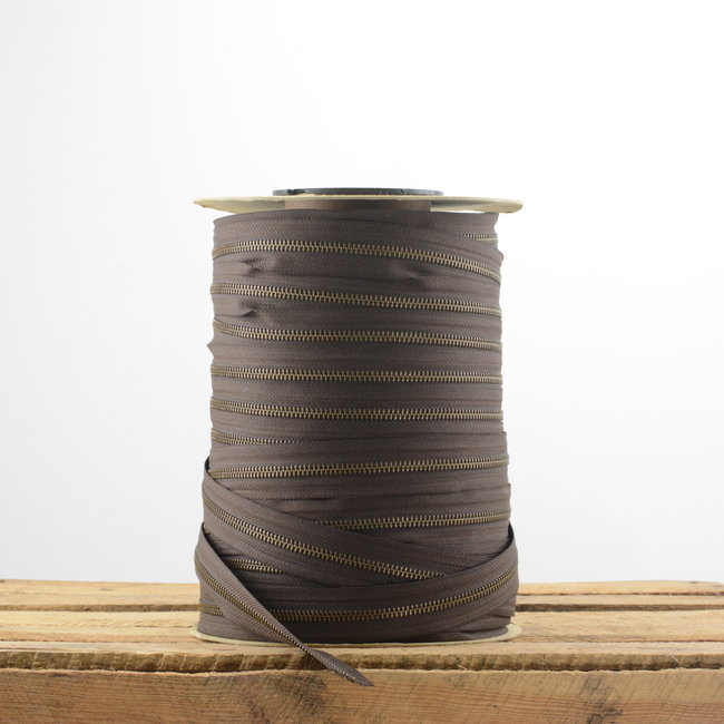 YKK Zipper tape Metal Dark brown - Anti-brass