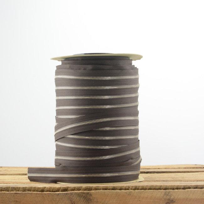 YKK Zipper tape Metal Dark brown - Nickel