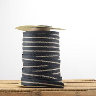 YKK Zipper tape Metal Black - Nickel