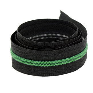 K-Bas Coil zipper Black with Green by the yard