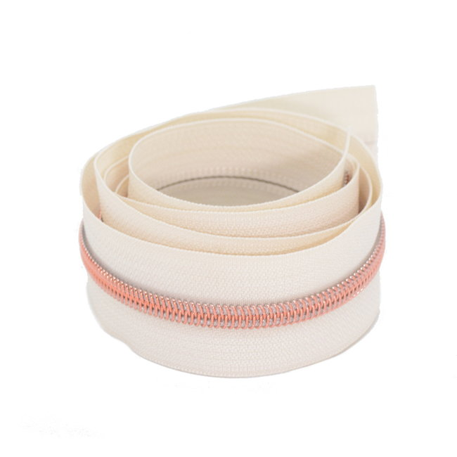 K-Bas Coil zipper Off white with Rose gold by the yard