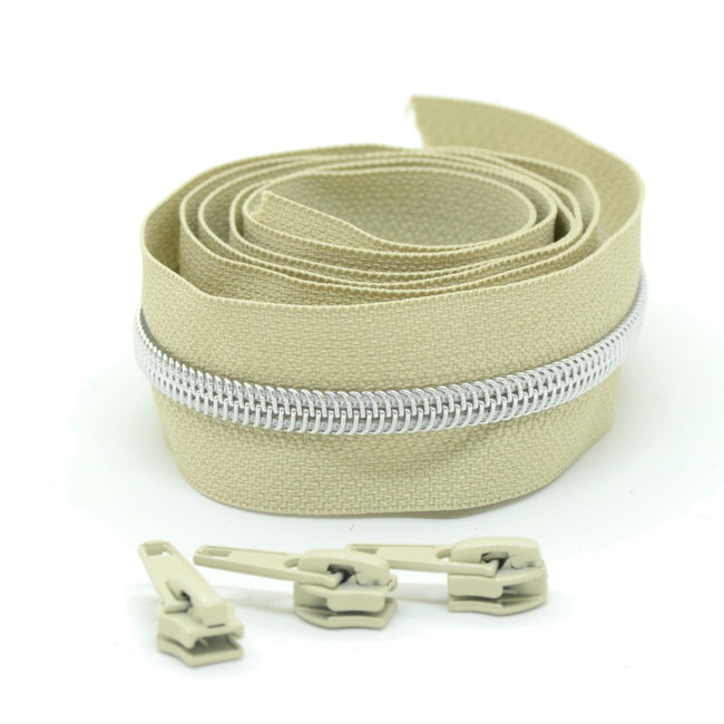 Snaply Coil zipper Beige with Silver by the yard