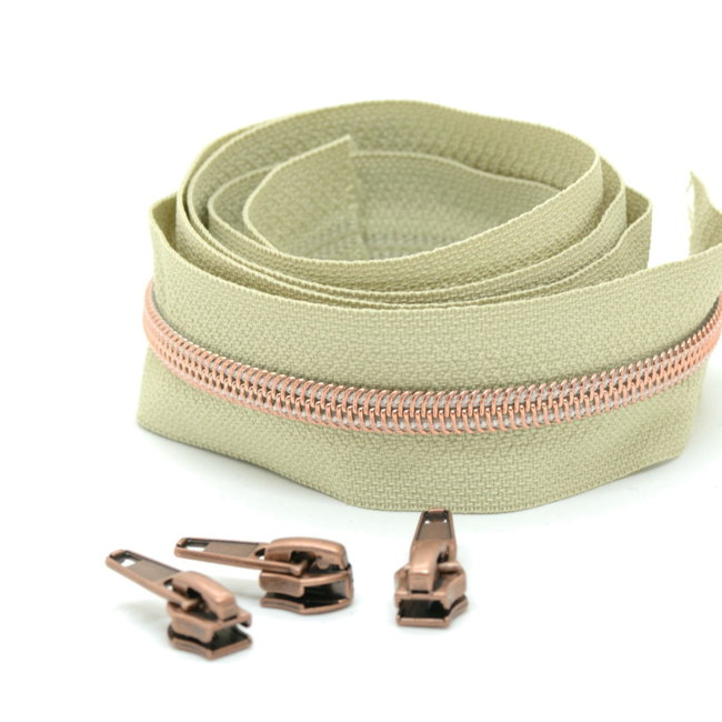 Snaply Coil zipper Beige with Rose gold by the yard