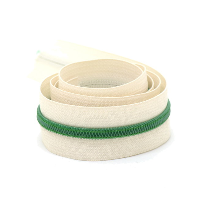 K-Bas Coil zipper Off white with Green by the yard