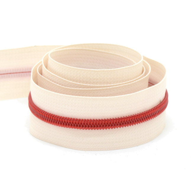 K-Bas Coil zipper Off white with Red by the yard