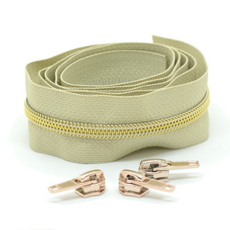 Snaply Coil zipper Beige with Gold by the yard