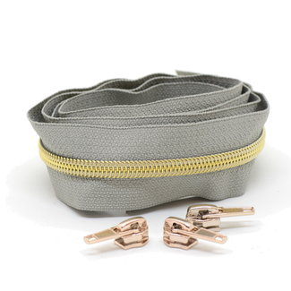 Snaply Coil zipper Light grey with Gold by the yard