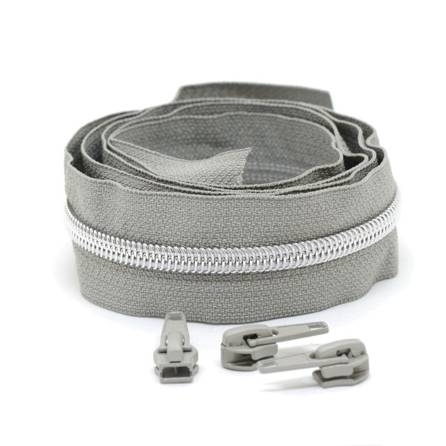 Snaply Coil zipper Light grey with Silver by the yard