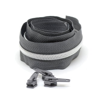 Snaply Coil zipper Dark grey with Silver by the yard