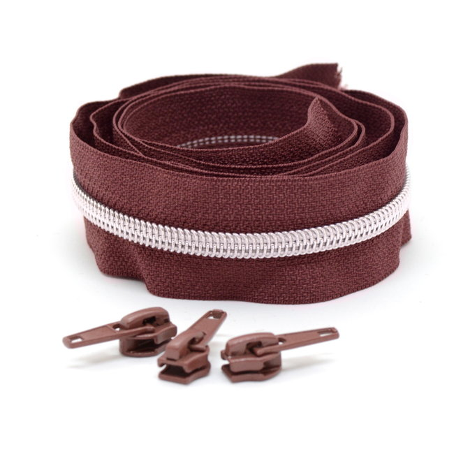 Snaply Coil zipper Red brown with Silver by the yard