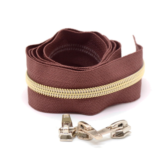 Snaply Coil zipper Red brown with Gold by the yard
