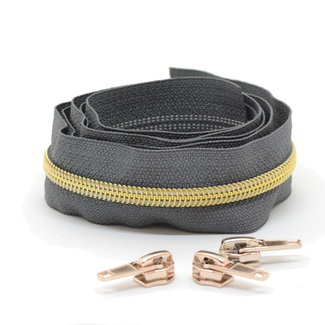 Snaply Coil zipper Dark grey with Gold by the yard