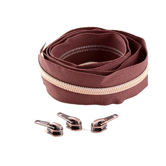 Snaply Coil zipper Red brown with Rose gold by the yard