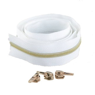 Snaply Coil zipper White with Gold by the yard