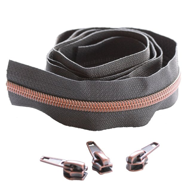 Snaply Coil zipper Dark grey with Rose gold by the yard