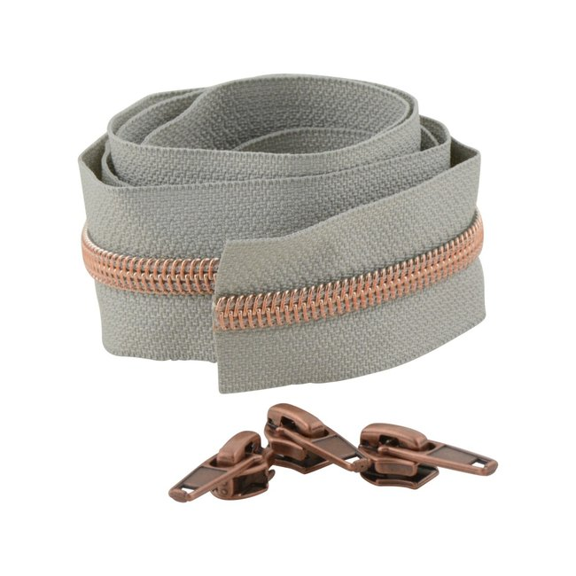 Snaply Coil zipper Light grey with Rose gold by the yard