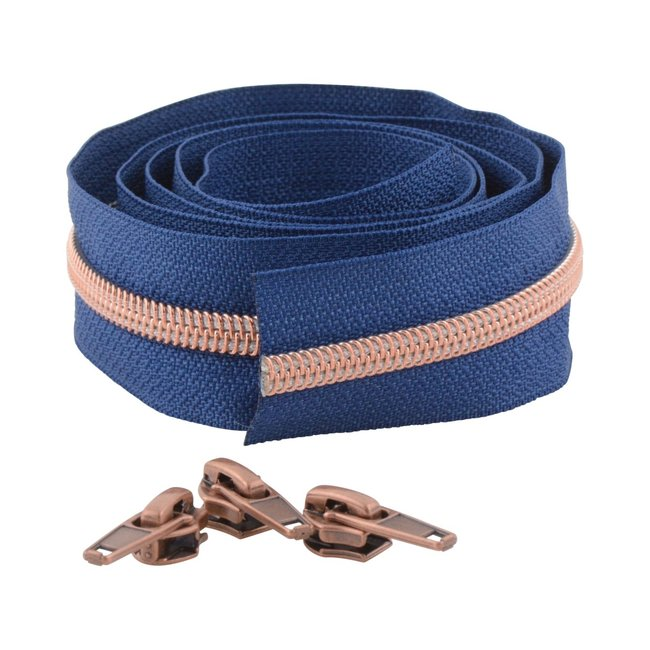 Snaply Coil zipper Deep blue with Rose gold by the yard