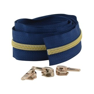 Snaply Coil zipper Deep blue with Gold by the yard