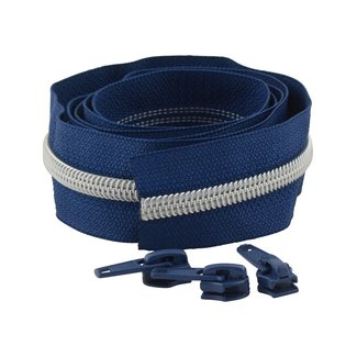 Snaply Coil zipper Deep blue with Silver by the yard