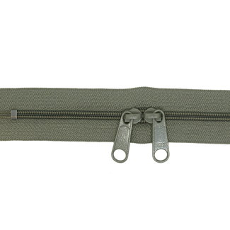 YKK Coil zipper 75cm with double pull (O-type) Army green
