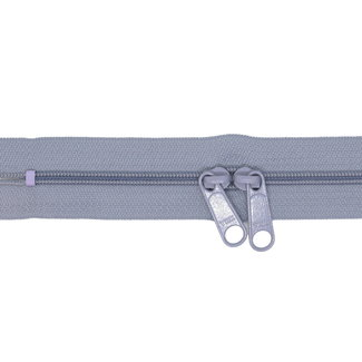 YKK Coil zipper 75cm with double pull (O-type) Blue grey
