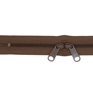 YKK Coil zipper 75cm with double pull (O-type) Mid brown