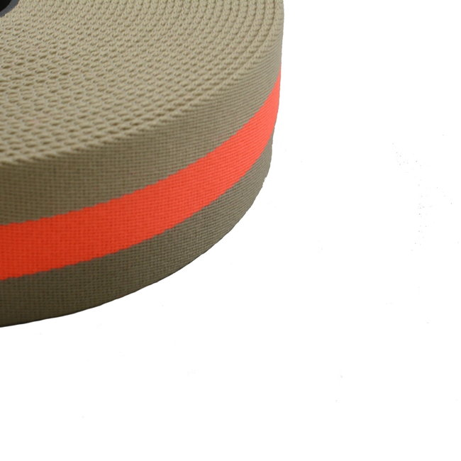 Webbing Striped Sand-Fluo orange 40mm