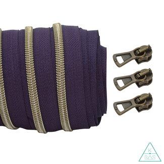 Coil zipper Aubergine - Shiny Anti-Brass 100cm