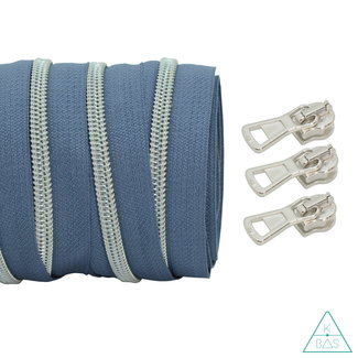 Coil zipper Blue grey - Matt Silver 100cm