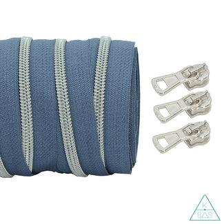 Spiraalrits Blauwgrijs - Mat zilver 100cm