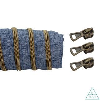 K-Bas Coil zipper Denim - Matt Anti-Brass 100cm