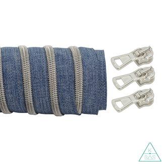 K-Bas Coil zipper Denim - Matt Silver 100cm