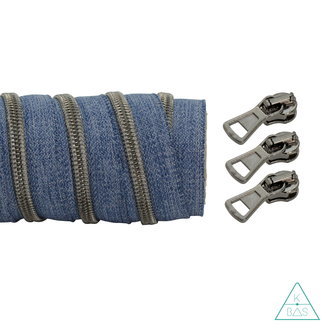 K-Bas Coil zipper Denim - Black nickel 100cm