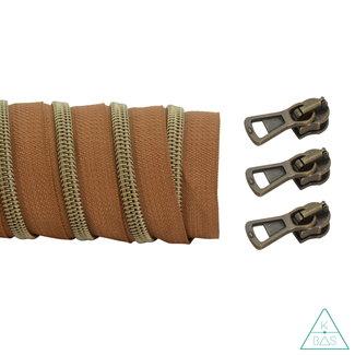 K-Bas Coil zipper Dark cognac - Matt Anti-Brass 100cm